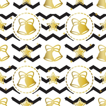 Seamless golden christmas pattern on zig zag