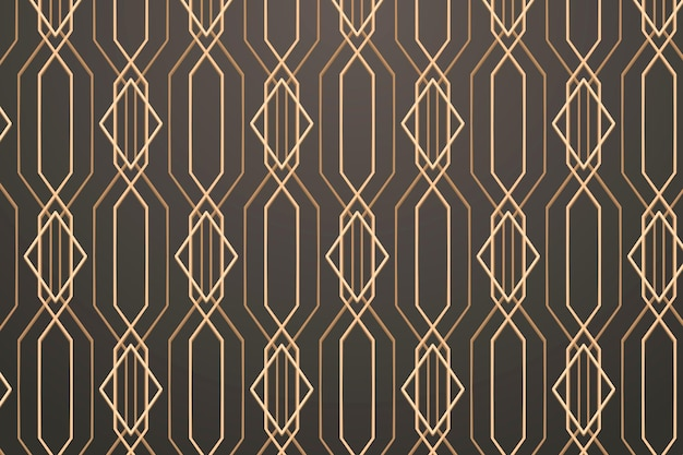 Seamless golden geometric pattern on a gray background