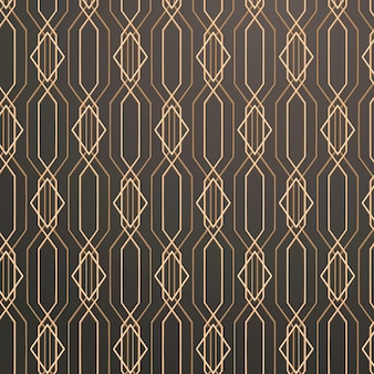 Seamless golden geometric pattern on a gray background