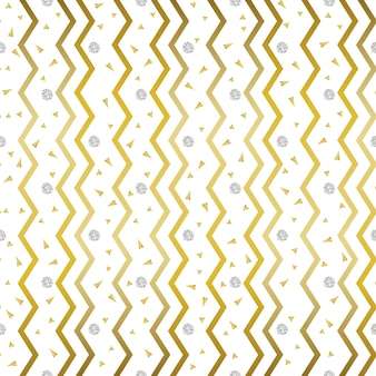 Seamless golden zig zag pattern with confetti silver and gold glitter background