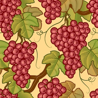 Seamless grapes pattern