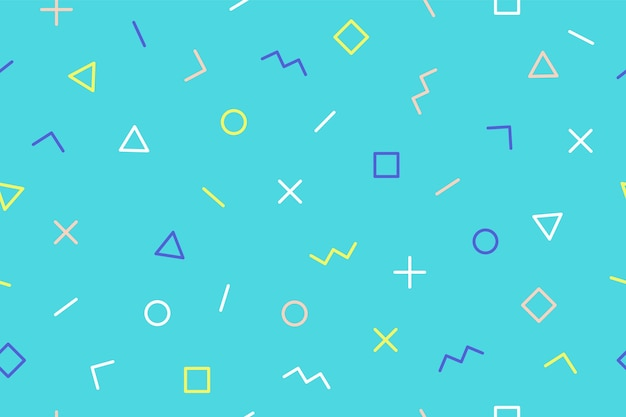 Seamless graphic pattern 90s trendy style on blue background