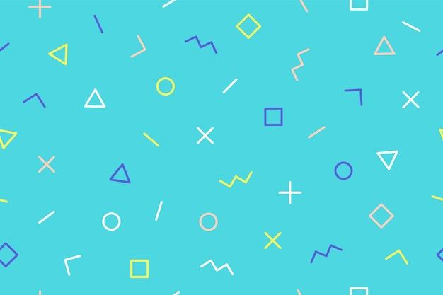 青い背景にシームレスなグラフィックパターン90年代の流行のスタイル
