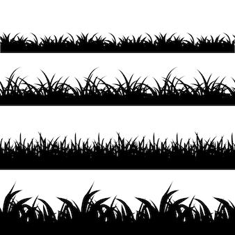 シームレスな草黒シルエットベクトルセット。風景自然、植物、フィールドのモノクロイラスト