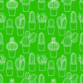 カラフルな植木鉢のかわいい小さなサボテンのシームレスな緑の背景