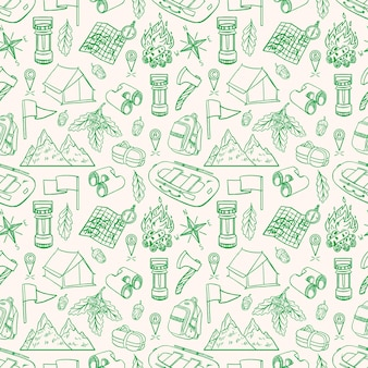 스케치 캠핑 장비의 원활한 녹색 배경입니다. 손으로 그리는 그림