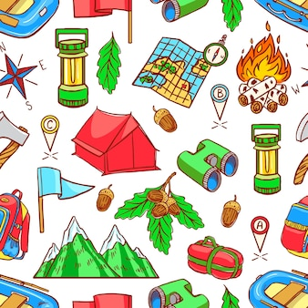 Seamless green background of sketch colorful camping equipments. hand-drawing illustration