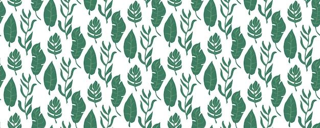 원활한 녹색 잎 패턴 벡터 일러스트 레이 션 배경 화면 패브릭 디자인에 대 한 자연 배경