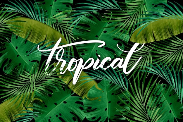 Seamless green leaves tropical lettering