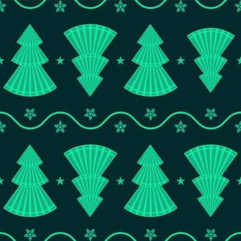 シームレスな緑のクリスマスツリー、花と星のパターンの背景。