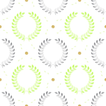 Seamless grey simple bouquet of olive branches with silver dot glitter on stripe pattern background