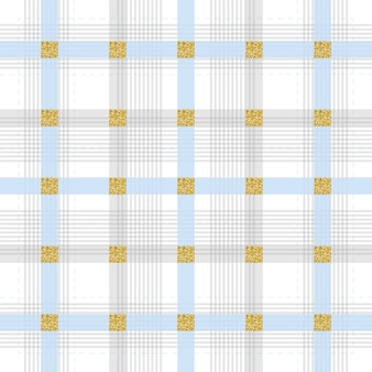 Seamless grey stripe pattern on white background with silver square glitter