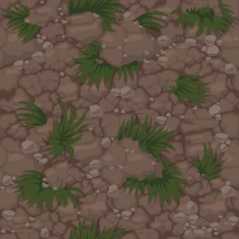 Бесшовный образец земли с травой, текстурой почвы с растениями для обоев. иллюстрация естественного фона лужайки для графического интерфейса игры.