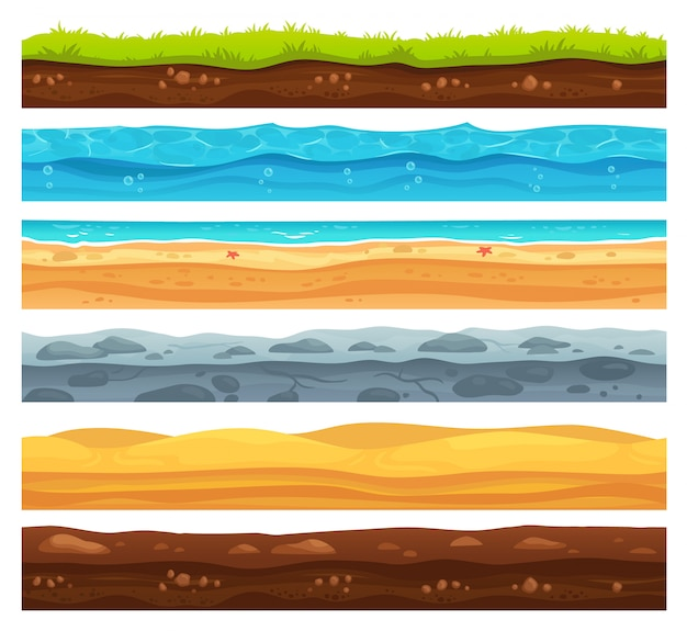 Seamless ground surface. green grass land, sandy desert and beach with sea water layers cartoon set