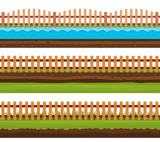 シームレスな土壌と土地 Premiumベクター
