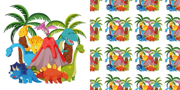 Seamless and group of cute dinosaurs and volcano isolated on white