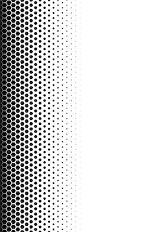 シームレスなハーフトーンベクトルの背景。黒い六角形で塗りつぶされています。中央がフェードアウトします。高さ20桁。サイズa4