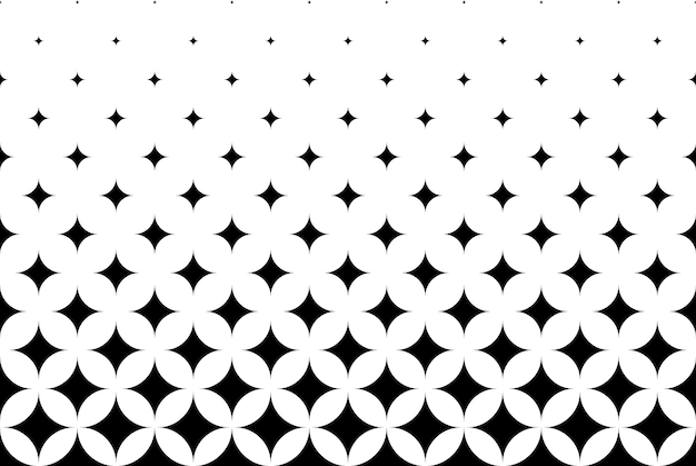 Seamless halftone vector background.filled with black rhombuses .short fade out. 13 figures in height.