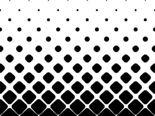 Seamless halftone vector background.filled with black rounded squares .middle fade out. 20 figures in height.