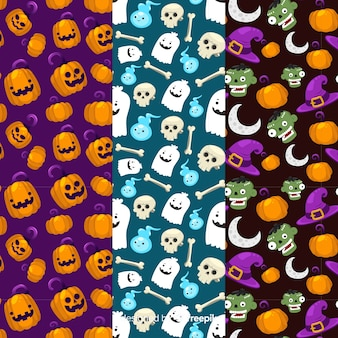 Seamless halloween cute pattern collection