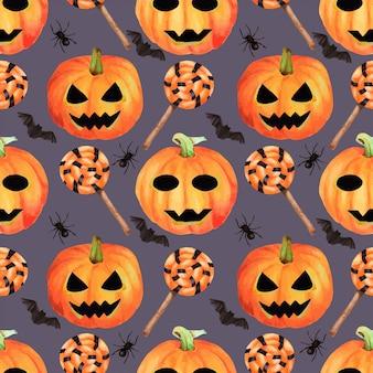 완벽 한 할로윈 손으로 그린 수채화 패턴. 얼굴, 박쥐, 거미 및 사탕을 가진 행복하고 공포스러운 호박