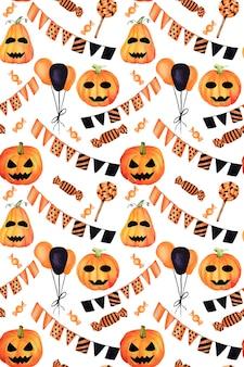 シームレスなハロウィーンの手描き水彩パターン。オレンジ、黄色、黒色。カボチャ、お菓子、風船