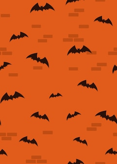 Seamless halloween orange pattern with bats. bats on a brick wall background. black silhouettes of bats on an orange background.