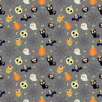 Seamless halloween party patterns on gray background
