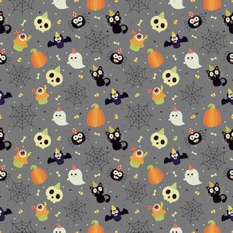灰色の背景にシームレスなハロウィーンパーティーのパターン