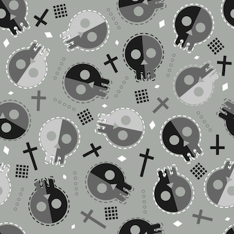 Seamless halloween pattern background with doodle skull