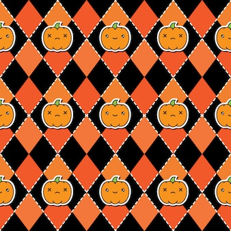 Seamless halloween pattern background with pumpkins
