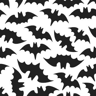 동물 박쥐 평면 스타일 디자인 벡터 일러스트와 함께 원활한 할로윈 패턴