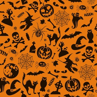Seamless halloween pattern with bats, ghost and pumpkin. isolated vector illustration
