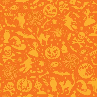 Seamless halloween pattern with bats, ghost and pumpkin.