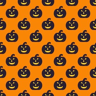 Seamless halloween pattern with black pumpkin, endless texture. vector background can be used for wallpaper, fills, web page,surface, scrapbook,  holiday card, invitation and party design.