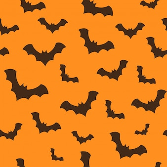 Seamless halloween pattern with flying bats