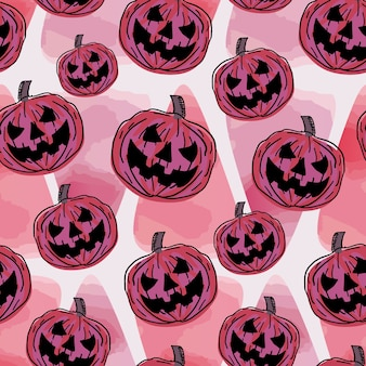 Seamless halloween pattern with funny pumpkin