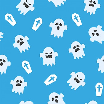 Seamless halloween pattern with ghosts and graves