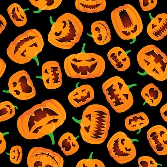 Бесшовный фон на хэллоуин с оранжевым фонарем счастливого джека резными светящимися страшными тыквами