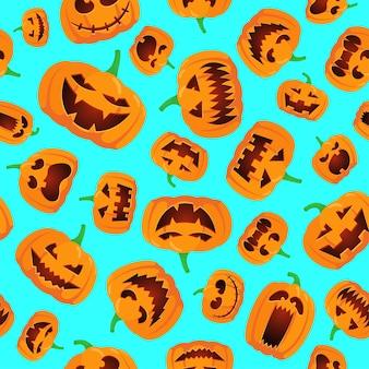 Seamless halloween pattern with happy jack lantern orange carved glowing scary pumpkins