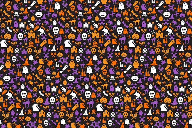 Seamless halloween pattern with pumpkins, witch hats, skulls, bats, bones and ghosts.