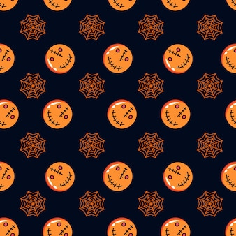 Seamless halloween pattern with spider web and pumpkin