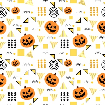 Seamless halloween pattern with trendy memphis geometric