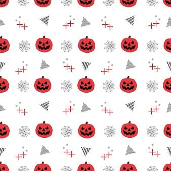 Seamless halloween pattern with trendy pumpkin