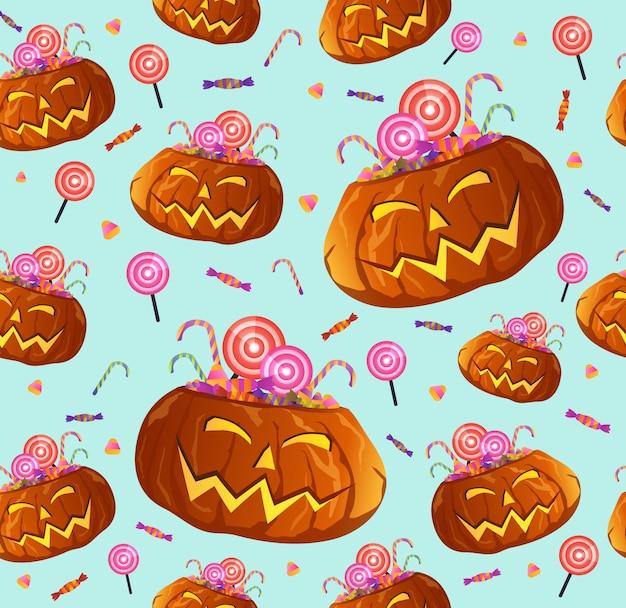 Seamless halloween pumpkins pattern