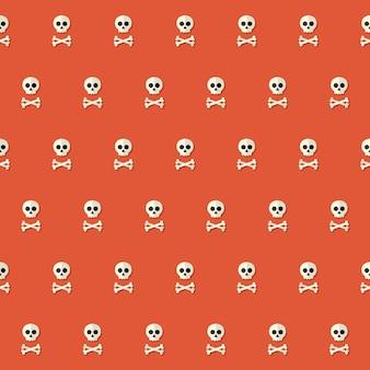 赤の上の骨とシームレスなハロウィーンの頭蓋骨のパターン。ベクトルイラスト