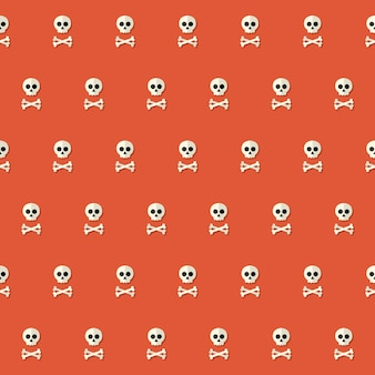 Seamless halloween skull pattern with bones over red. vector illustration
