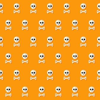 Seamless halloween skull pattern with bones. vector illustration