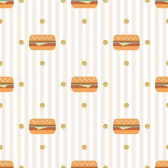 ストライプの背景に金ドットの輝きのパターンとシームレスなハンバーグ