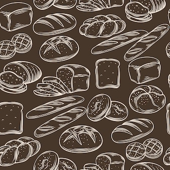 Seamless hand draw bread pattern. Premium Vector